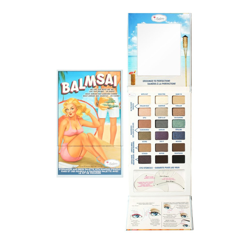 the Balm Balmsai Eyeshadow and Brow Palette with Shaping Stencils - brandstoreuae