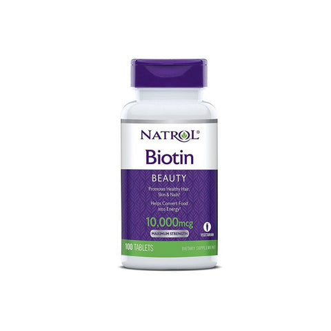 Natrol Biotin Beauty Promotes Healthy Hair Skin & Nails  - 10,000 mcg - 100 Tablets