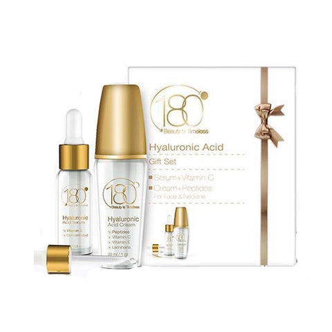 180° Cosmetics - Younger You Bundle - Hyaluronic Acid Serum + Vitamin C + Cream + Peptides for Face & Neckline