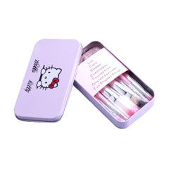 Hello Kitty - 7 Piece Makeup Brush Set With Metal Box - Pink - brandstoreuae