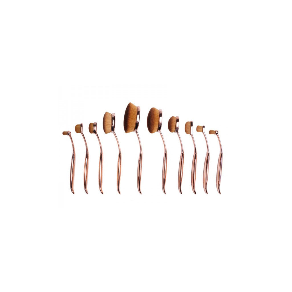 Oval Brushes (Set of 10) - Professional Makeup From Highlighting to Contouring - Rose Gold - brandstoreuae