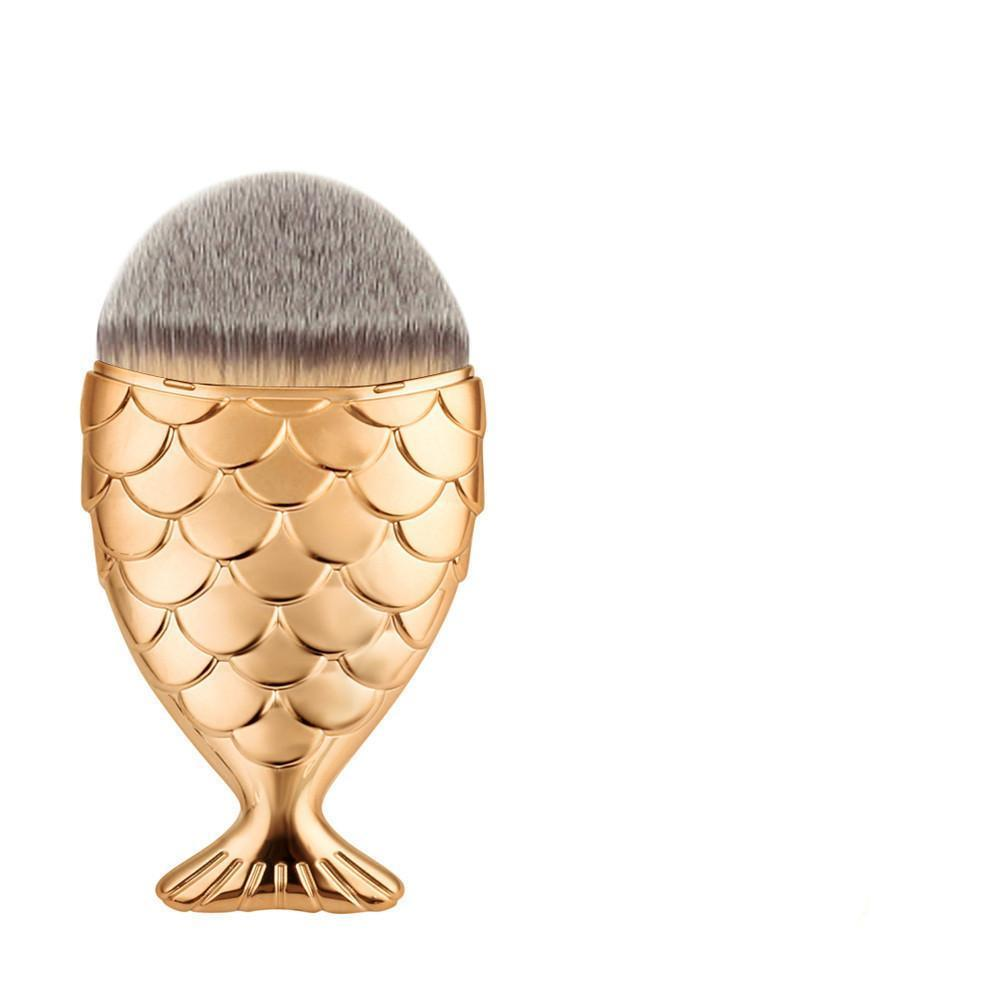 Oval Brushes - Fish Type Single Powder Professional Makeup Brush - Gold - brandstoreuae