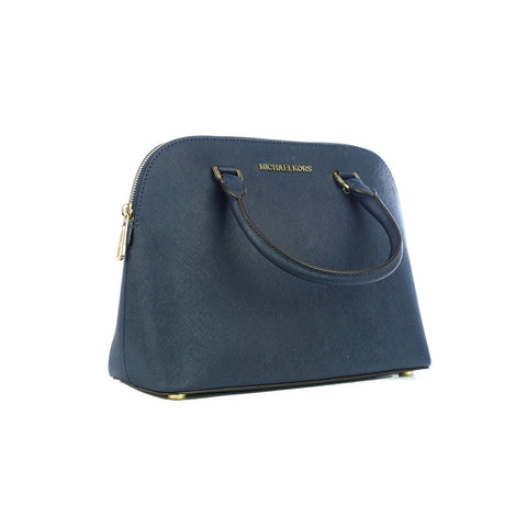 Hand Bags Michael Kors Medium Dome Satchel Bag for Women - Leather, Navy - 1