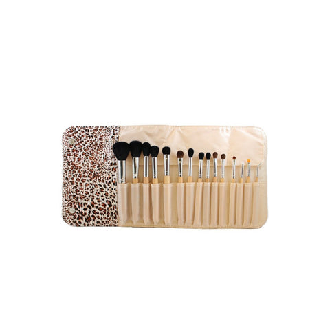 MORPHE SET 694 - 15 PIECE WOODEN HANDLE SET W/ CHEETAH SNAP CASE - brandstoreuae