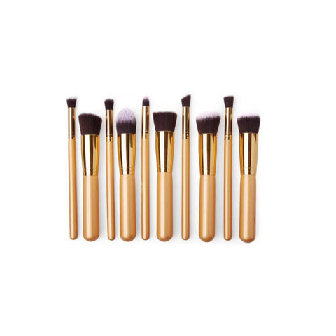 Kabuki Makeup Brushes, Professional Synthetic (Set of 10 pieces) - Golden - brandstoreuae