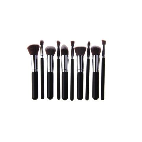 Kabuki Stylish Makeup Brushes - Professional Synthetic (10 Brush Set) - Black