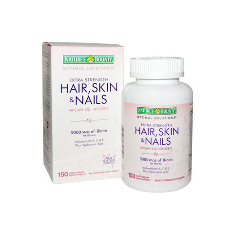 Nature's Bounty Extra Strength Hair, Skin & Nails - 5,000mcg, 150 Softgels - brandstoreuae