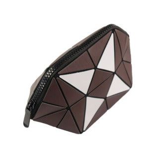 Geometric Foldable Cosmetic Bag For Women - Brown - brandstoreuae
