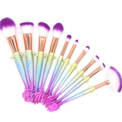 Oval Brushes - Mermaid Makeup Brushes Set Pink-Blue Gradient Fish Tail handle - 10 Pcs - brandstoreuae