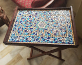 Lattice Blue Folding mosaic Table Tray