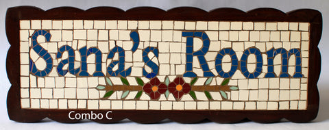 Mosaic Name Signs with Floral Design