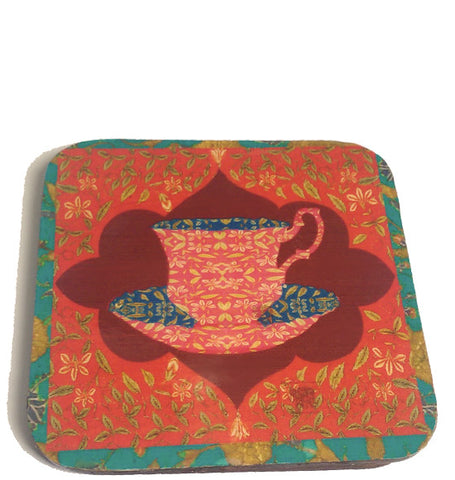 chai lime border coaster