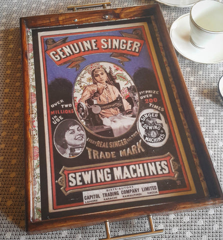 Vintage Singer Sewing Machine Serving Tray