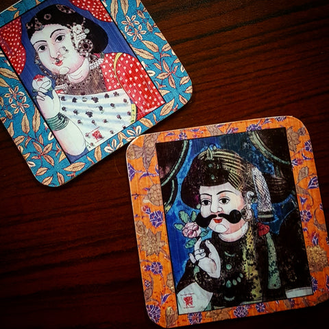 Mr and Mrs coaster set of six