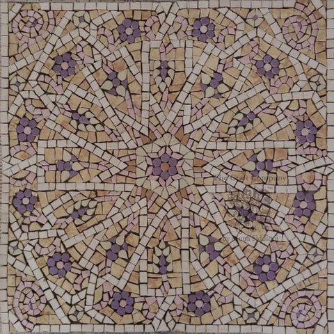 kaleidoscope handcut tile mosaic in beige