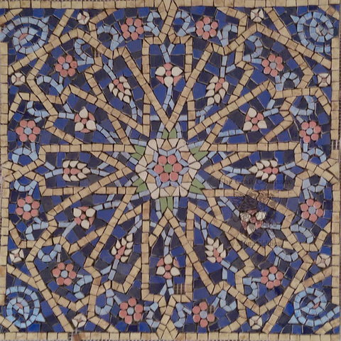 kaleidoscope handcut tile mosaic in blue