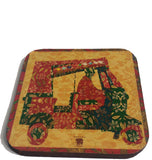 red border rickshaw coaster