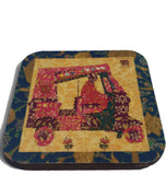 Navy border rickshaw coaster