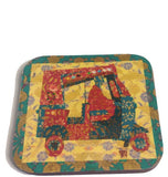 Lime border rickshaw coaster