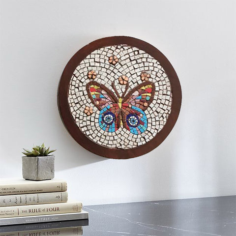 Butterfly evil eye mosaic wall art