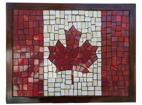 Canada Maple Leaf Flag Mosaic Wall Art Mural