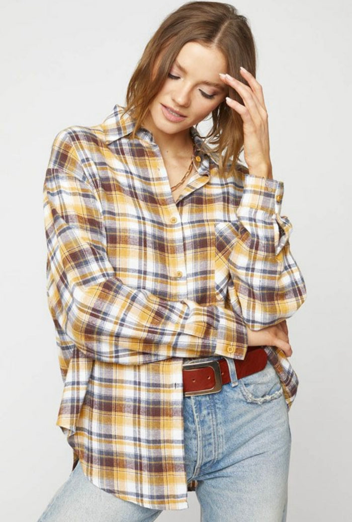 Clarita Plaid Oversized Shirt - Mustard
