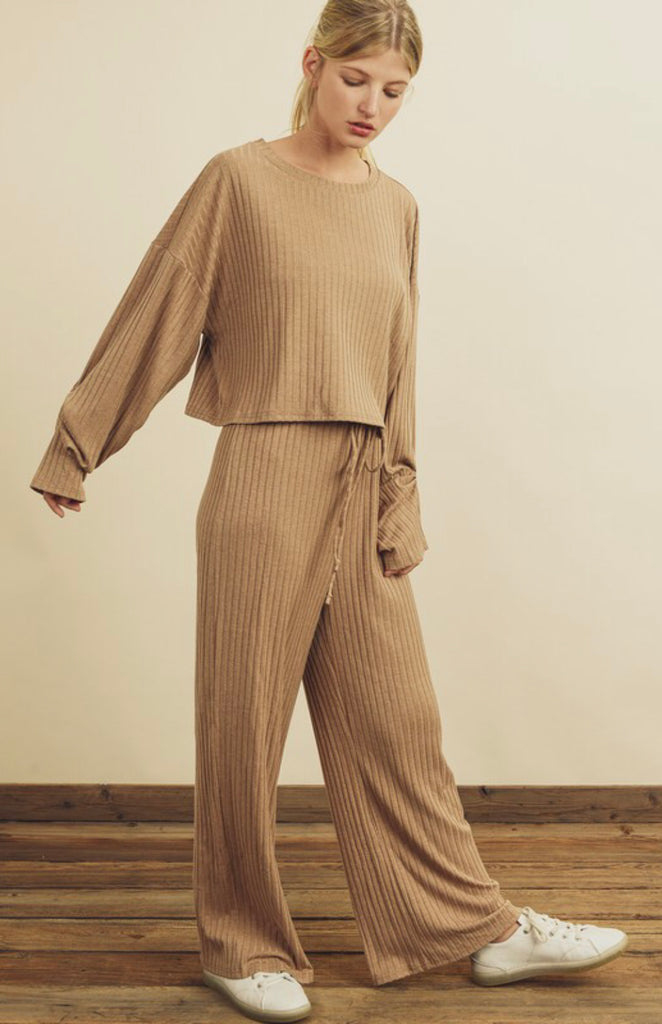Slouchy Ribbed Knit Lounge Set