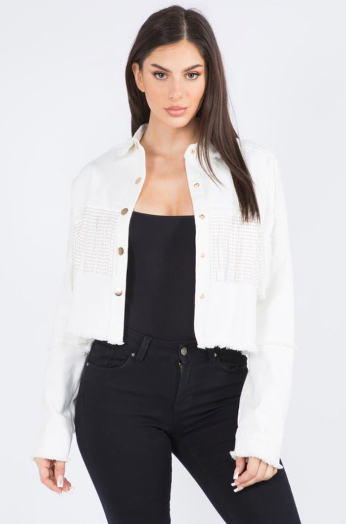 Nashville Fringe Denim Jacket - White