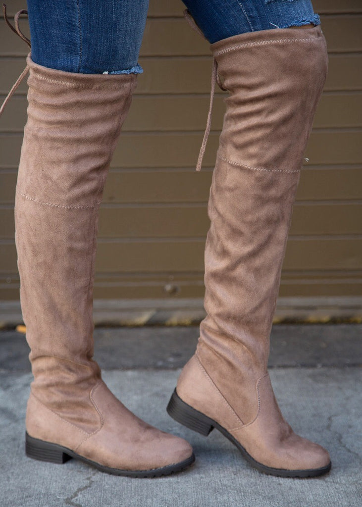 Jaden Over the Knee Suede Boot - Taupe