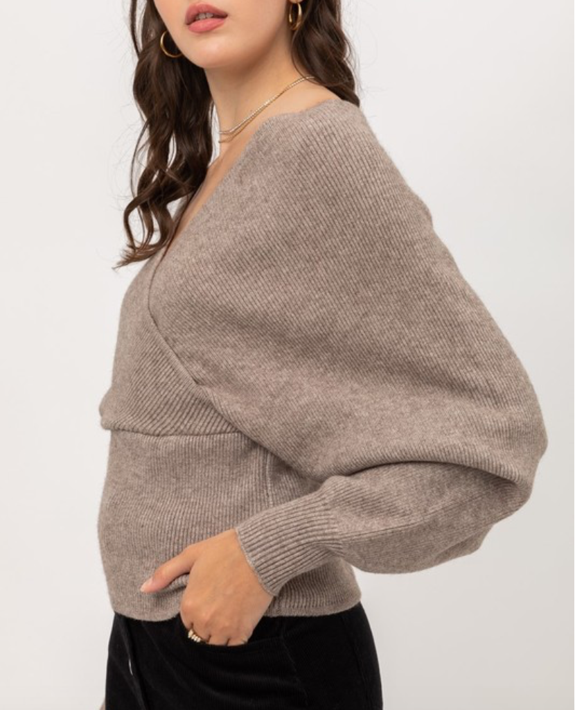 harmony wrap sweater - mocha