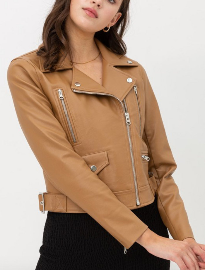 urban faux leather moto jacket