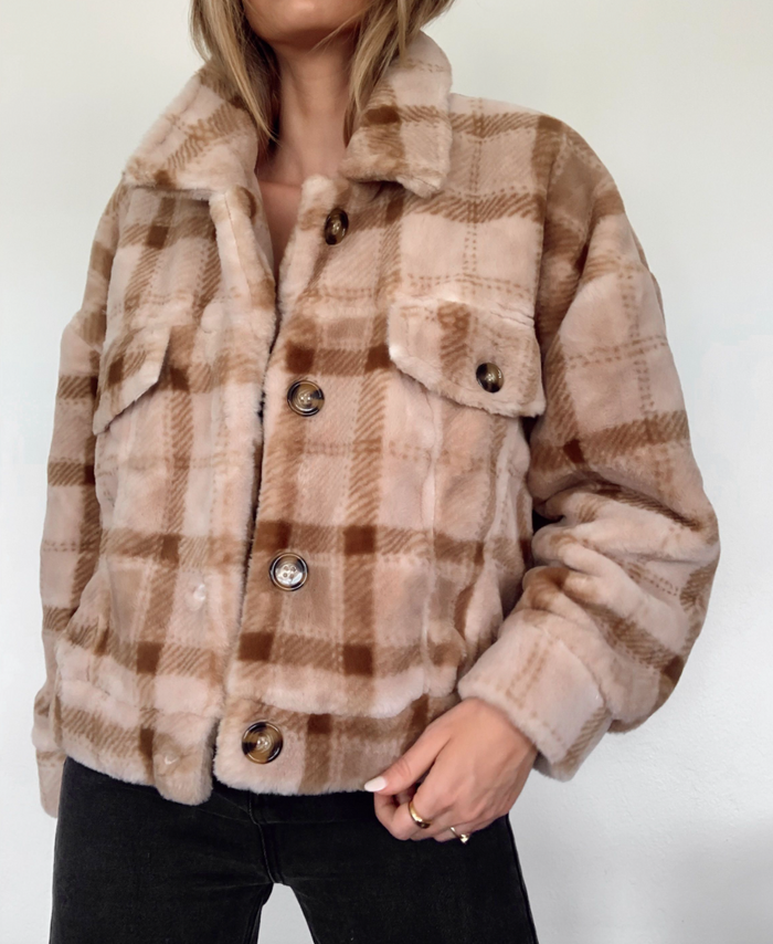 plaid faux fur jacket - blush