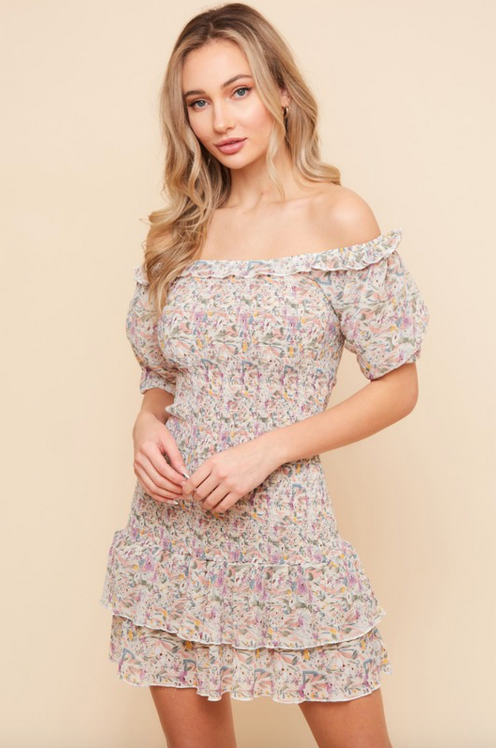 Lavender Smocked Floral Dress