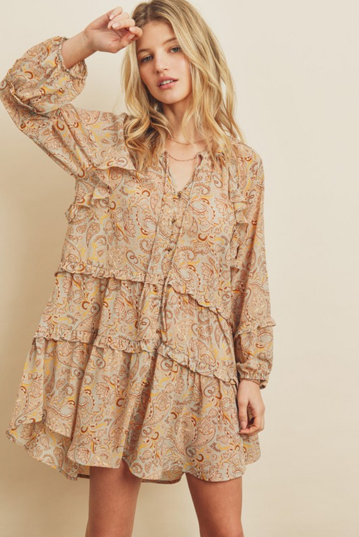 Paisley Tiered Babydoll Dress