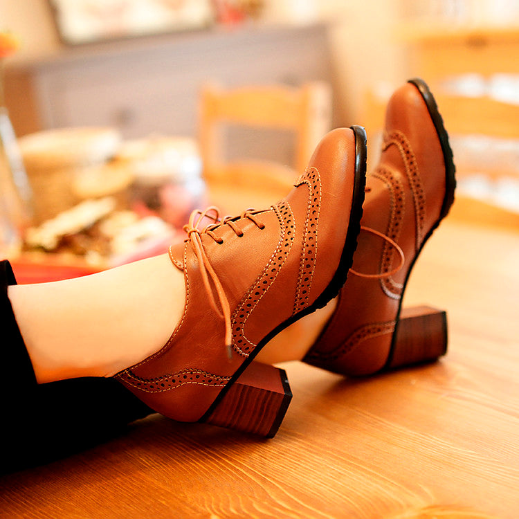 Head Layer Cowhide Pure Color Round Toe Middle Heel Lace Up Brogues