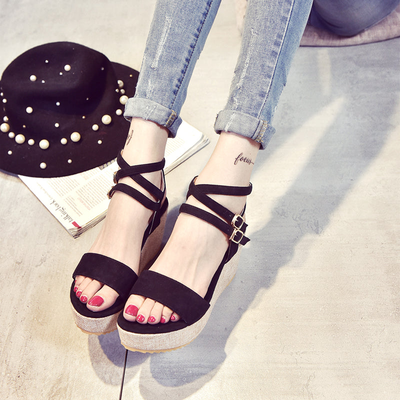 PU Sweet Open Toe Wedge Heel Cross Strap Lace Up Sandals