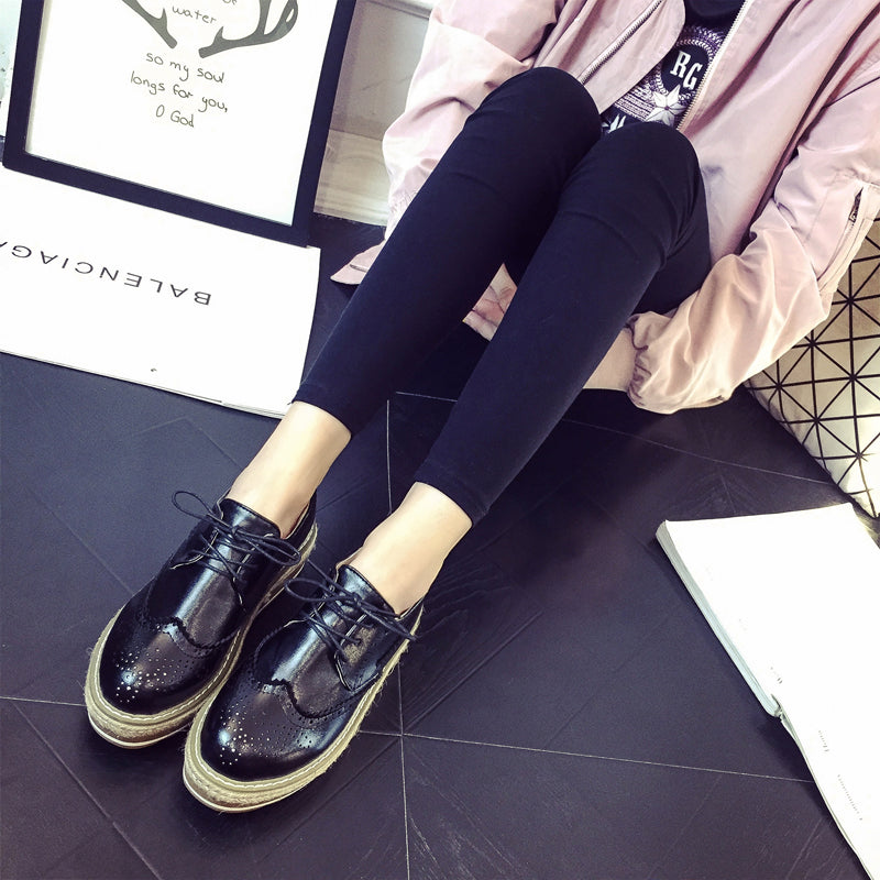 PU Simple Round Toe Platform Lace Up Brogues