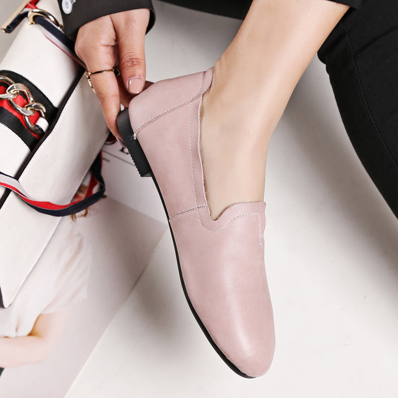 Casual Round Toe Flat Heel Loafers