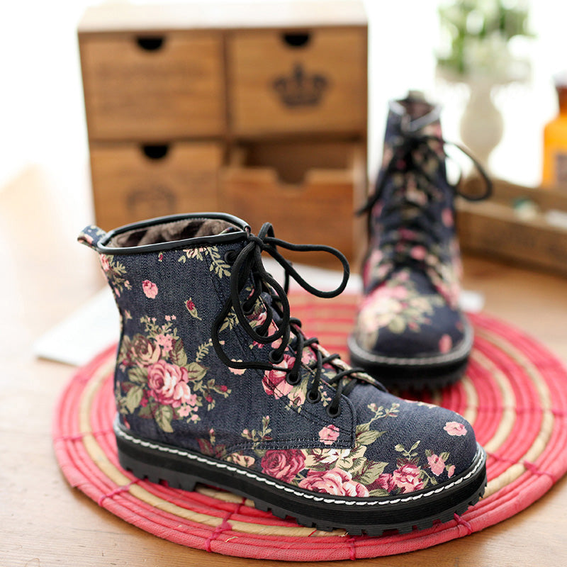 Denim Casual Flower Round Toe Lace Up Martens Boots