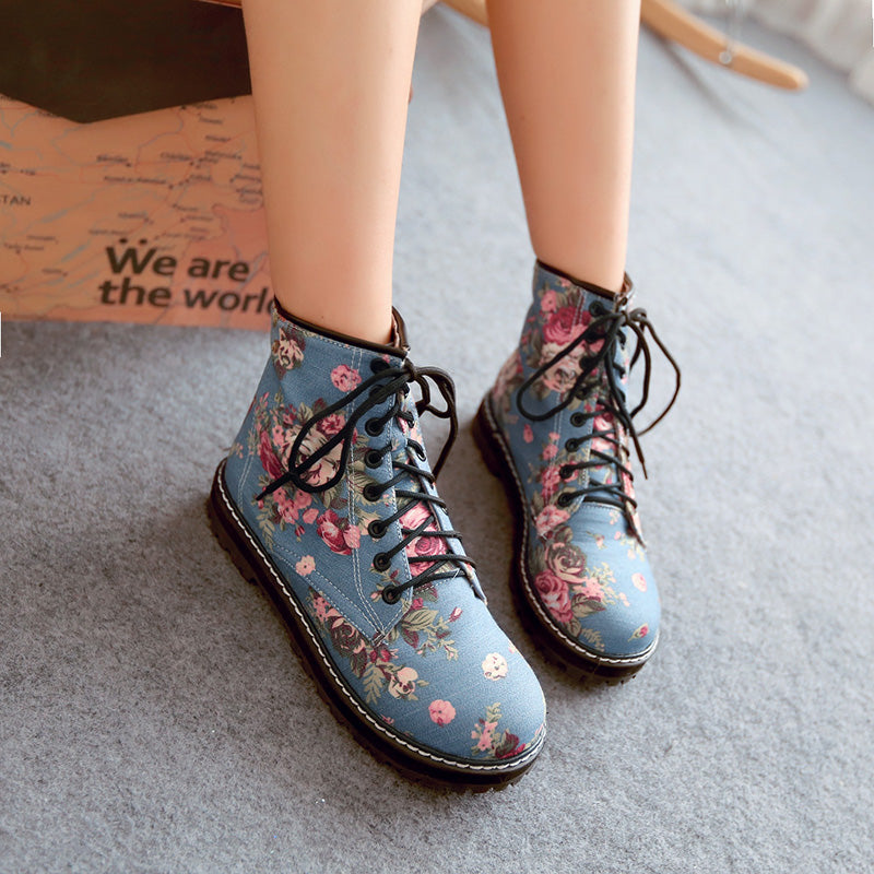 Denim Pure Color Round Toe Block Heel Lace Up Floral Martens