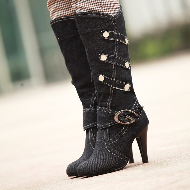 Denim Pure Color Round Toe Cone Heel Metal Embellished Mid-calf Boots