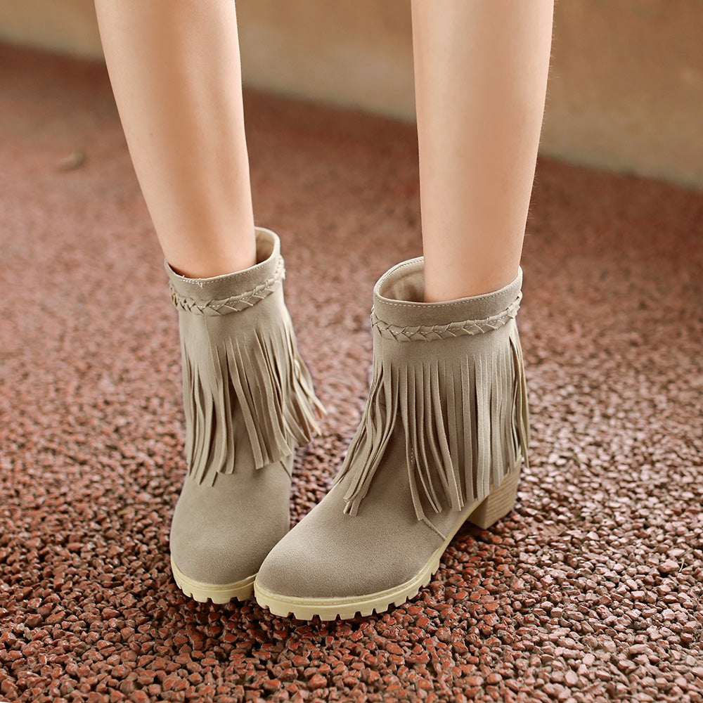 Dull Polish Pure Color Middle Heel Round Toe Tassel Ankle Boots