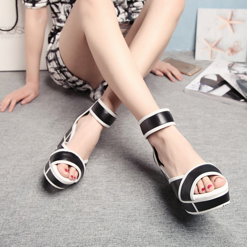 Head Layer Cowhide Mixed Color Open Toe Wedge Heel Back Zipper Sandals