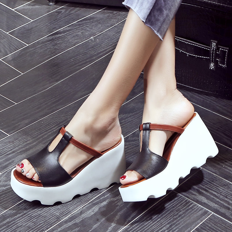 Head Layer Cowhide Black Open Toe Wedge Heel Mules