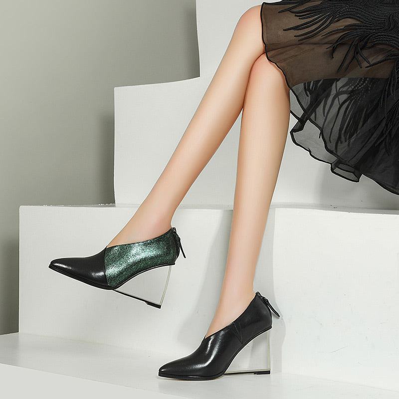 Head Layer Cowhide Mixed Color Pointy Toe Crystal Wedge Heel Back Zipper Pumps