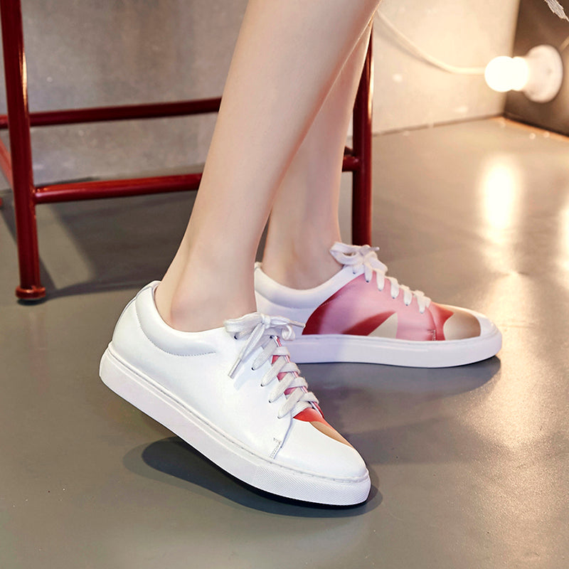 Round Toe Flat Heel Lace Up Fruit Printing White Sneaker