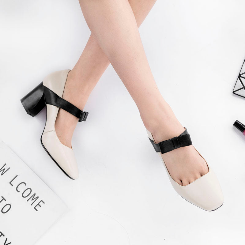 Head Layer Cowhide Mixed Color Square Toe Block Heel Bowtie Mary Janes