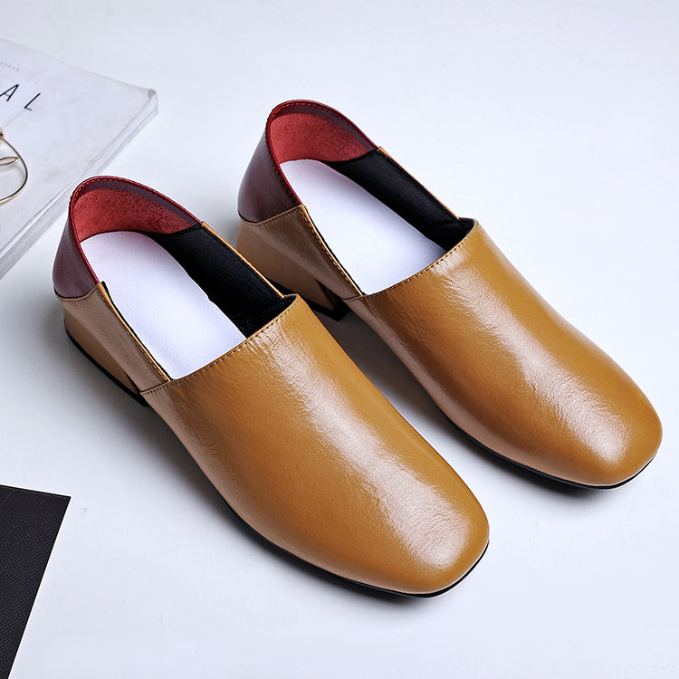 Head Layer Cowhide Mixed Color Square Toe Middle Block Heel Loafers