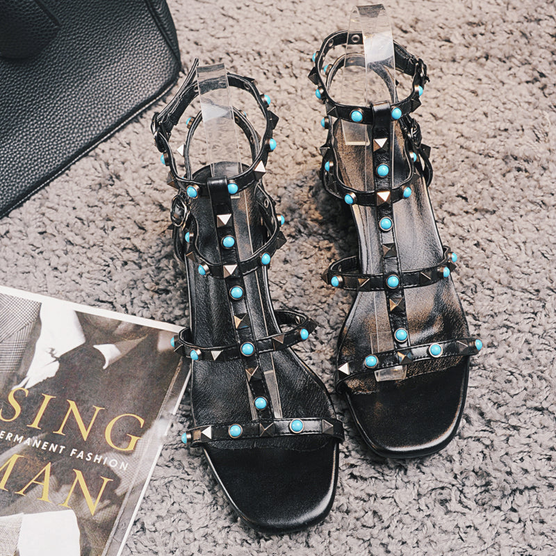 Open Toe Block Heel Gladiator T-strap Sandals With Rivet And Blue Crystal