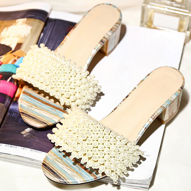 Head Layer Cowhide Pure Color Open Toe Block Heel Pearl Beads Mules